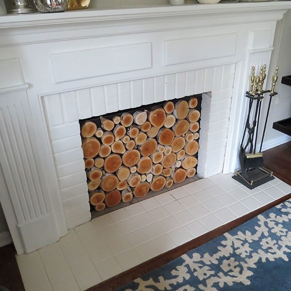 <b>Install Insert</b></br> <p> When your wood glue is completely dry, and you have checked that all wood slices are firmly secure to the plywood, prop your insert up and install in your fireplace. If the logs you used are particularly heavy, you may want to add an additional finishing nail to each slice. If you live in a climate susceptible to high moisture or termites, you may want to finish the insert with a coat of clear polyurethane to seal the wood.</p>