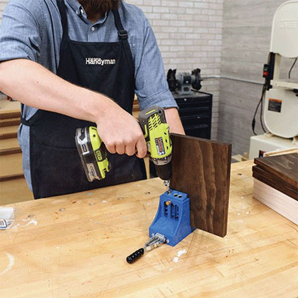 "<b>Drill Pocket Holes</b></br> <p>Using a <a href=""https://www.familyhandyman.com/tools/woodworking-tools/how-to-use-a-pocket-screw-jig-in-woodworking-projects"" target=""_blank"">pocket-hole jig</a>, drill two holes into one flat side of each piece. No need to be exact with the hole placement, but they should be approximately an inch from the side edges to create a strong joint.</p>"