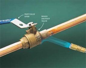 Photo 7: Heat a heavy brass valve longer