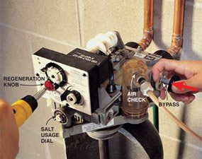 Turn the manual regeneration knob