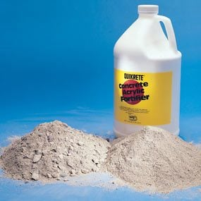 Concrete mix, sand mix, and jug of fortifier