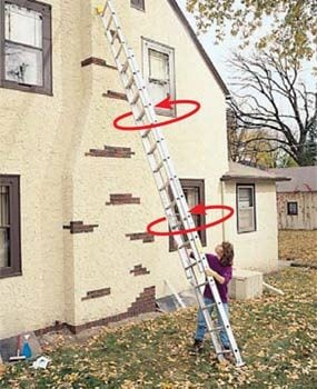 Roll the top of the ladder to walk it sideways.