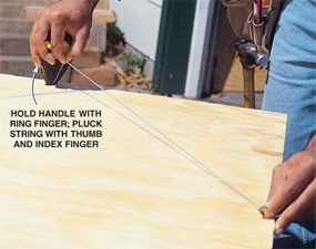 Snap chalk lines when you lack a third hand.