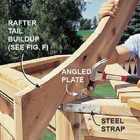 Nail the angled plates