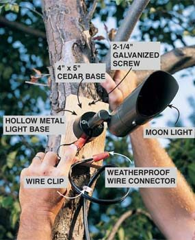 Outdoor low voltage lighting family handyman installing moon light in a tree aloadofball Gallery