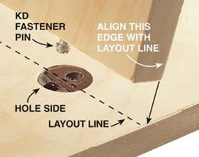 Align the plywood edge with the layout marks.