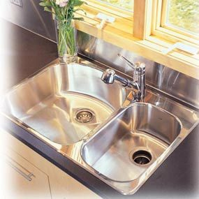 New stainless steel sink and chrome faucet