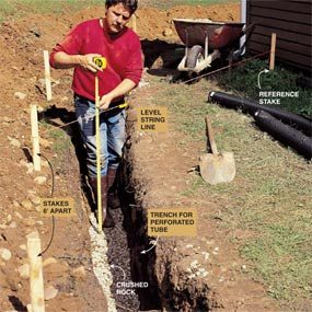 Photo 6: Slope the trench to ensure proper drainage