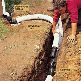 Photo 9: Connect the downspouts to the drain line