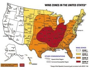 Wind zone map
