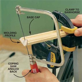 Interior trim work basics the family handyman photo 18 cut the profile with coping saw greentooth Choice Image
