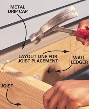 Photo 1: Toenail joists to ledger