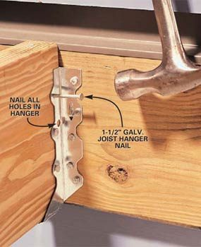 Photo 5: Nail to the joist—standard hanger