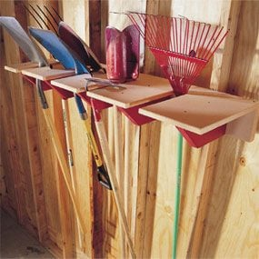 Keep yard tools up and off the floor with this sturdy rack.