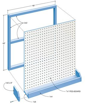 Figure A pegboard and bin details