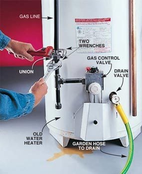 Hook up hose to water heater