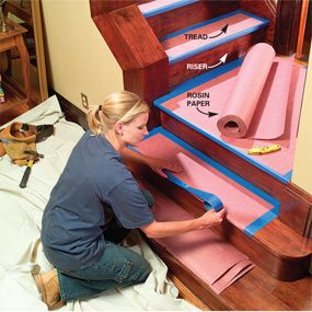 Use rosin paper for wood stairs