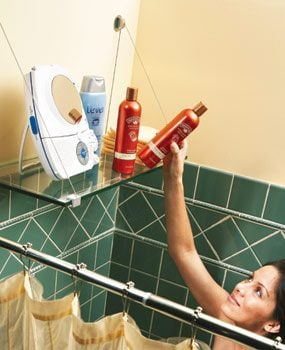 Store shower supplies on a handy shelf