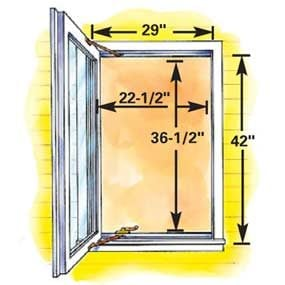 Minimum size casement egress window