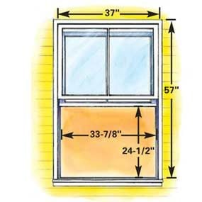 Minimum size double-hung egress window