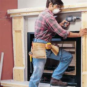 A wood frame mantel adds charm and character to any room.