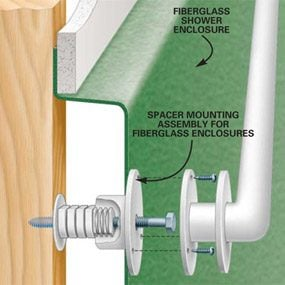 Anchoring hardware used in a shower enclosure