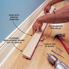 Fit And Nail The New Floor Plank. Hardwood Floor Repair