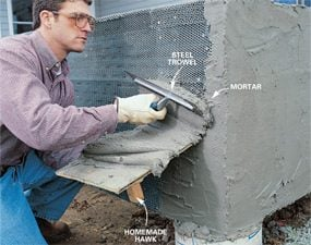 Photo 10: Spread mortar on lath