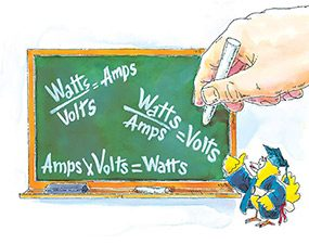 These equations show how to convert watts and volts to amps and help you understand how circuit breakers work