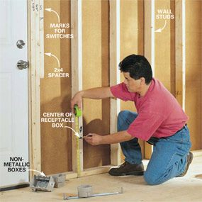 Electrical outlet height Photo 1: Mark the box locations