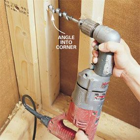 Photo 4: Drill into corners at an angle