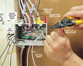 How to Rough-In Electrical Wiring | The Family Handyman Electrical Wiring on electrical cables, electrical energy, electric motor, electrical diagrams, electrical engineering, electrical contracting, electrical fuses, wiring diagram, electrical shocks, electrical volt, electrical fire, electrical grounding, national electrical code, ground and neutral, power cable, distribution board, electrical circuits, electrical cord, electrical wire, knob and tube wiring, electrical conduit, electrical technology, alternating current, electric power transmission, electrical box, junction box, electrical equipment, electrical repair, electrical tools, circuit breaker, electrical receptacle types, three-phase electric power, extension cord, earthing system,