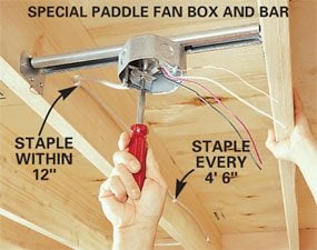 Special box: Paddle fan box with bar hanger