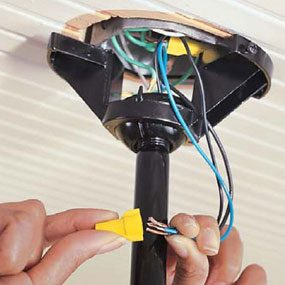 How to install ceiling fans the family handyman photo 10 connect ceiling fan wiring at the fan aloadofball