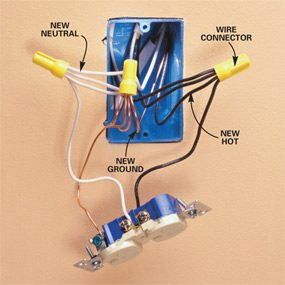 how to wire an outlet and add an electrical outlet the family handyman rh familyhandyman com outlet wiring color code outlet wiring schematic