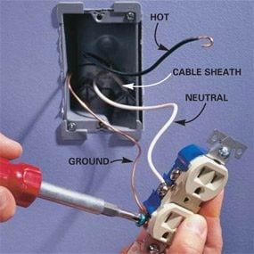 how to wire an outlet and add an electrical outlet the family handyman rh familyhandyman com connecting wall outlets connecting wall outlets