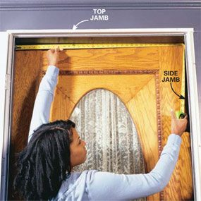 Measure the door jamb for weatherstripping.