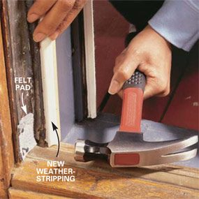 Finish weatherstripping the door by sealing the bottom corners.