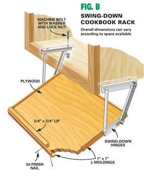 Dimensions for cookbook rack