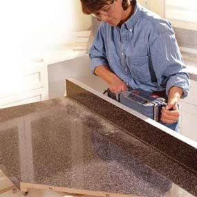 installing laminate countertops corner how to install a countertop the family handyman 652
