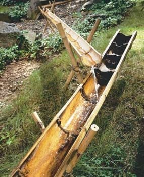 The water will flow through bamboo sluices.