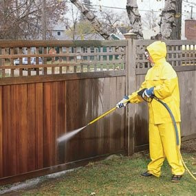 Use a power washer to clean the wood.