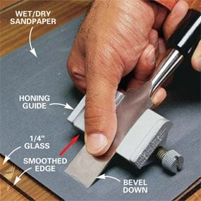 Sharpening with a honing guide.