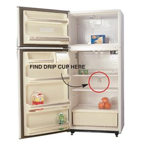 Find the drip opening on your fridge