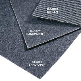 Sandpaper in various grits