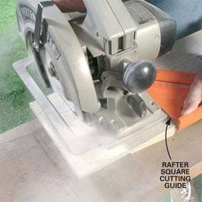 Photo 3: Use a circular saw to cut the frieze board