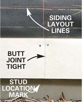Butt the siding courses tight together