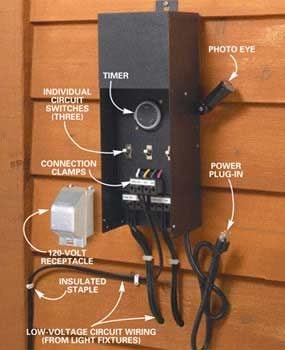 How To Install Deck Lighting The Family Handyman - Low voltage lighting transformer wiring diagram