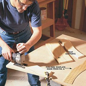 Cut the seat supports and arms so that you can build the frame for the porch swing.