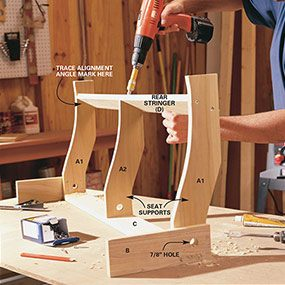 Build the seat brace for the porch swing.